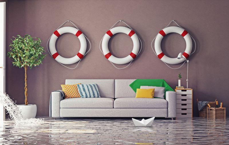flooding in  interior. 3d creative concept