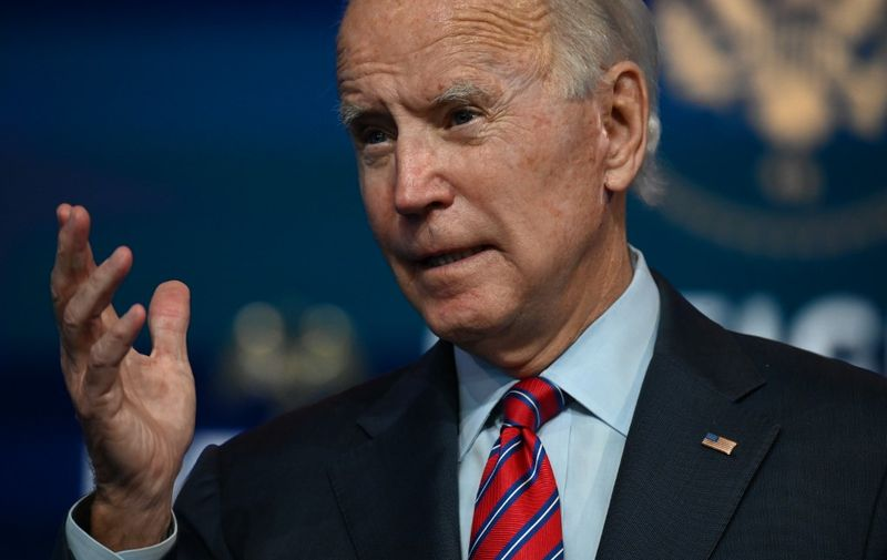 """US President-elect Joe Biden speaks on the latest unemployment figures at The Queen in Wilmington, Delaware on December  4, 2020. - US President-elect Joe Biden said that Americans face a """"grim"""" employment picture and will need immediate help to get through the coming months as Covid-19 cases surge. (Photo by Jim WATSON / AFP)"""