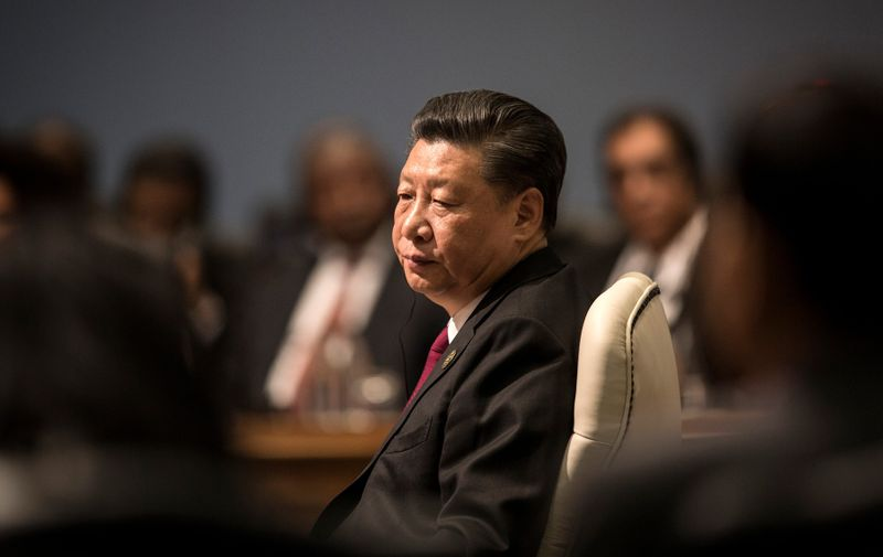 China's President Xi Jinping attends the Open Session meeting during the 10th BRICS summit (acronym for the grouping of the world's leading emerging economies, namely Brazil, Russia, India, China and South Africa) on July 26, 2018 at the Sandton Convention Centre in Johannesburg, South Africa., Image: 379715126, License: Rights-managed, Restrictions: , Model Release: no, Credit line: GULSHAN KHAN / AFP / Profimedia