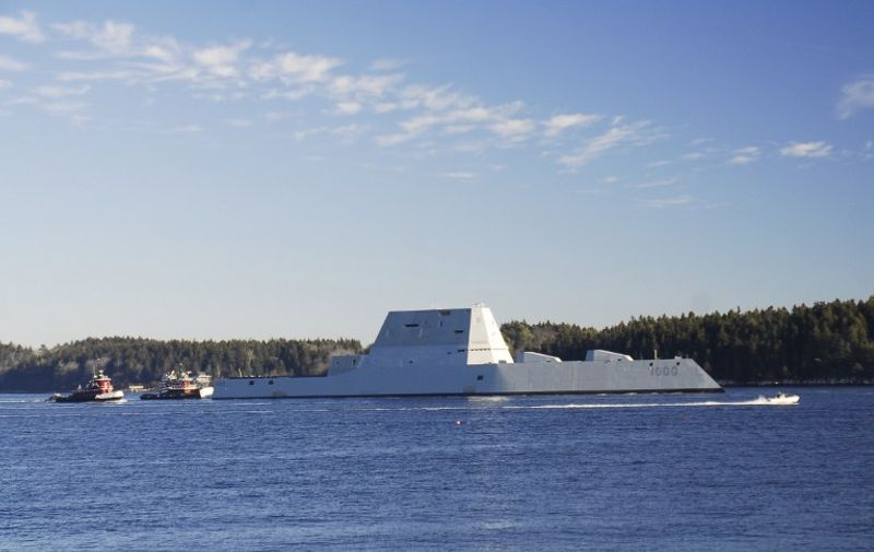 """In this US Navy handout photo, the future USS Zumwalt (DDG 1000) is underway for the first time conducting at-sea tests and trials on December 7, 2015 on the Kennebeck River in Massachusetts. The multimission ship will provide independent forward presence and deterrence, support special operations forces, and operate as an integral part of joint and combined expeditionary forces.  AFP PHOTO / HANDOUT / US NAVY PHOTO COURTESY OF GENERAL DYNAMICS BATH IRON WORKS                  == RESTRICTED TO EDITORIAL USE / MANDATORY CREDIT: """"AFP PHOTO / HANDOUT / US NAVY / GENERAL DYNAMICS BATH IRON WORKS """"/ NO MARKETING / NO ADVERTISING CAMPAIGNS / DISTRIBUTED AS A SERVICE TO CLIENTS ==  / AFP PHOTO / US NAVY / -"""