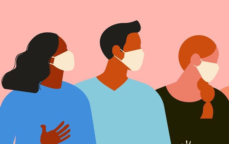 Wuhan Novel coronavirus (2019-nCoV), women and men with medical face mask. Concept of coronavirus quarantine. The virus is like blots. Vector Illustration.