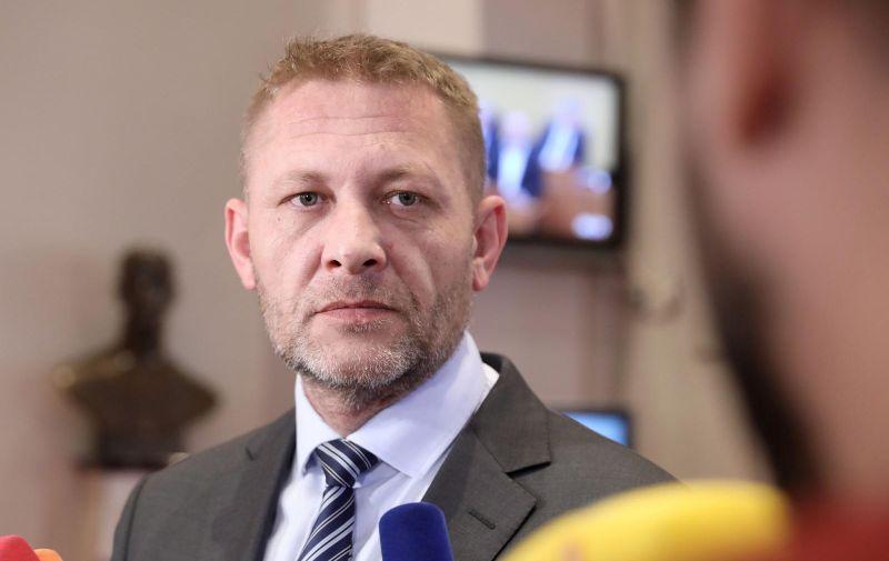 13.02.2020., Zagreb - Na konferenciji za medije odrzanoj u Saboru Kreso Beljak je komentirao ocekivanja od koalicije sa SDP-om za parlamentarne izbore. Photo: Patrik Macek/PIXSELL