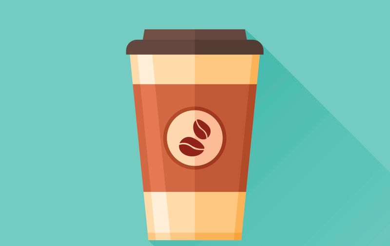 Disposable coffee cup flat icon with long shadow. Coffee takeaway. Vector illustration.