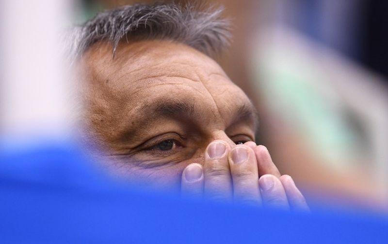 Hungary's Prime Minsiter Viktor Orban reacts during the Hungary vs Russia waterpolo Bronze medal match during their Rio 2016 Olympic Games, on August 19, 2016 at the Olympic Aquatics Stadium in Rio de Janeiro.   / AFP PHOTO / GABRIEL BOUYS
