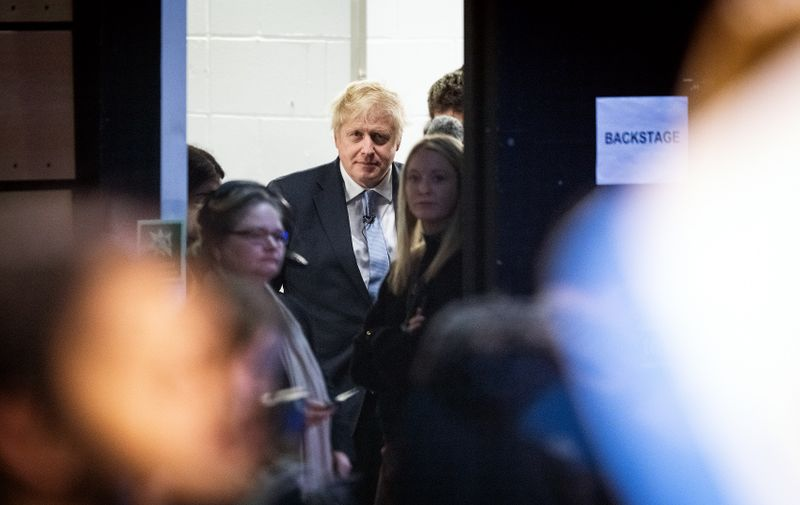 LONDON, ENGLAND - DECEMBER 11: Britain's Prime Minister Boris Johnson prepares to speak to supporters at the Copper Box Arena on December 11, 2019 in London, United Kingdom. Boris Johnson spent the final day of the general election campaign visiting constituencies from West Yorkshire to Wales, trying to persuade voters to elect Conservative MPs and give him a governing majority to secure his Brexit deal. (Photo by Leon Neal/Getty Images)