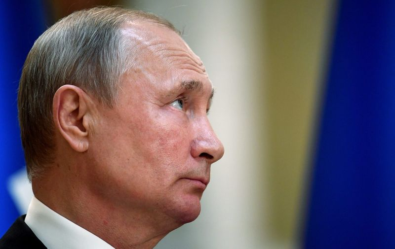 President of Russia Vladimir Putin during a joint press conference in the Presidential Palace in Helsinki Russian President Vladimir Putin visits Helsinki, Finland - 21 Aug 2019,Image: 466684078, License: Rights-managed, Restrictions: , Model Release: no