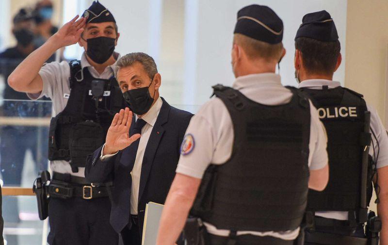 """NICOLAS SARKOZY ON COURT CHARGED OF ILLICIT FINANCING ELECTION CAMPAIGN. ©†THE PHOTO ONE. CODE: CRY. Paris, 15 June 2021. Nicolas Sarkozy arrives for a hearing of the so-called Bygmalion case trial which sees him charged with illicit financing for his failed 2012 re-election campaign, in Paris, on June 15, 2021 . Audition de l'ancien prÈsident Nicolas Sarkozy au procËs """"Bygmalion"""" pour """"financement illÈgal"""" de sa campagne prÈsidentielle de 2012"""