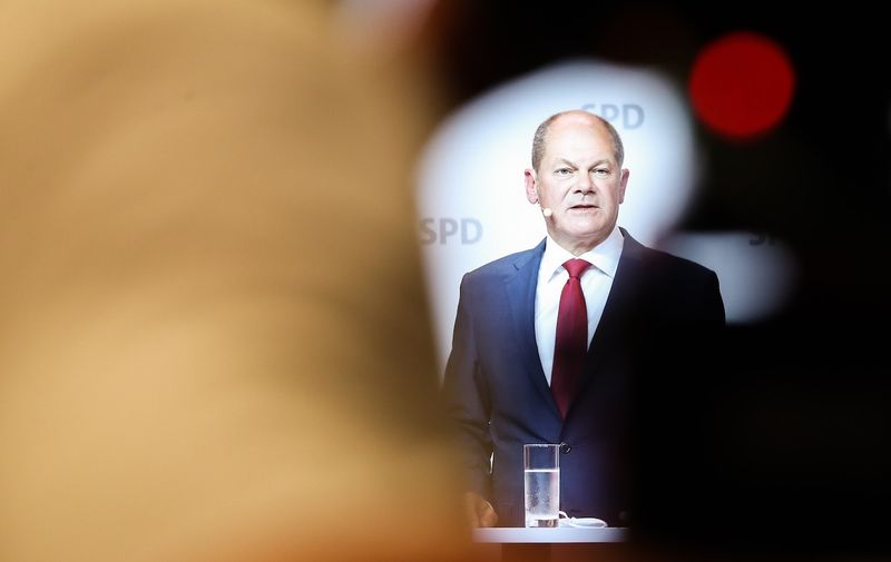 (200810) -- BERLIN, Aug. 10, 2020 (Xinhua) -- German Vice Chancellor and Finance Minister Olaf Scholz attends a press conference in Berlin, capital of Germany, Aug. 10, 2020. German Social Democratic Party (SPD) proposed Olaf Scholz as candidate for Chancellor at the upcoming election in 2021.,Image: 551375178, License: Rights-managed, Restrictions: , Model Release: no, Credit line: Profimedia