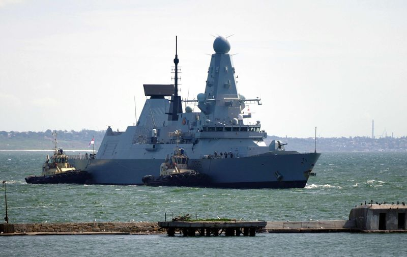HMS Defender (D36) of the Royal Navy arrives at the port of Odesa, southern Ukraine. Ships of NATO countries in Odesa, Ukraine - 18 Jun 2021,Image: 617122874, License: Rights-managed, Restrictions: , Model Release: no, Credit line: Profimedia