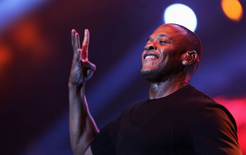 LOS ANGELES, CA - JUNE 29: Rapper Dr. Dre performs during the Snoop Dogg, Kendrick Lamar, J.Cole, Miguel and SchoolBoyQ concert during the 2013 BET Experience at Staples Center on June 29, 2013 in Los Angeles, California.   Chelsea Lauren/Getty Images for BET/AFP