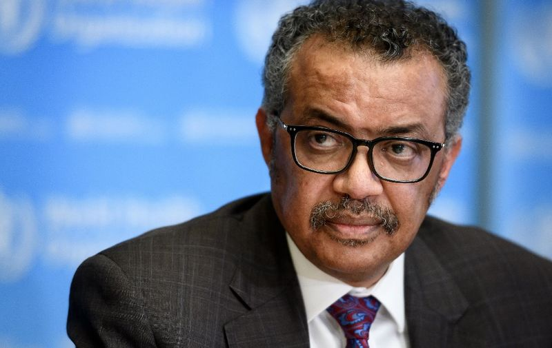 EDITORS NOTE: Graphic content / World Health Organization (WHO) Director-General Tedros Adhanom Ghebreyesus attends a daily press briefing on the COVID-19 outbreak (the novel coronavirus) at the WHO headquarters in Geneva on February 28, 2020. (Photo by Fabrice COFFRINI / AFP)