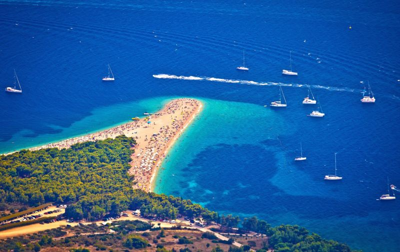 Zlatni rat beach aerial view, Island of Brac, Dalmatia, Croatia,Image: 305724937, License: Rights-managed, Restrictions: , Model Release: no