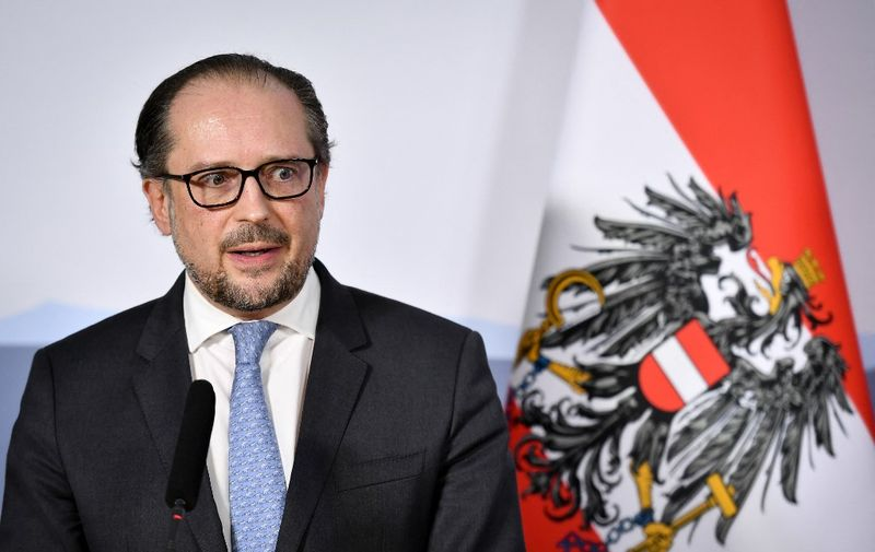 Austrian Foreign Minister Alexander Schallenberg speaks at a press conference, during a meeting of Foreign Minister of Switzerland, Austria, Germany, Luxemboug and Liechtenstein on April 16, 2021 in Lugano. - The talks focused on the Covid-19, the science diplomacy as part of the digital foreign policy, as well as international issues and current European policy. (Photo by Fabrice COFFRINI / AFP)