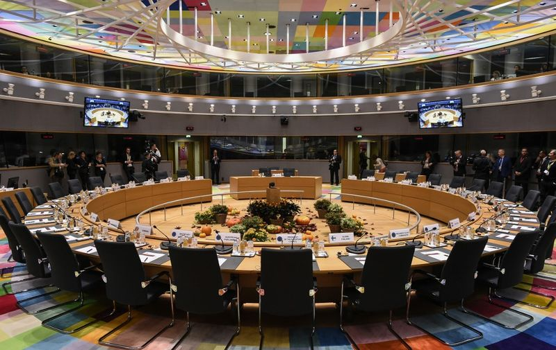 A picture taken on October 17, 2019 show the European Council meeting room ahead of an European Union Summit at European Union Headquarters in Brussels. (Photo by John THYS / AFP)