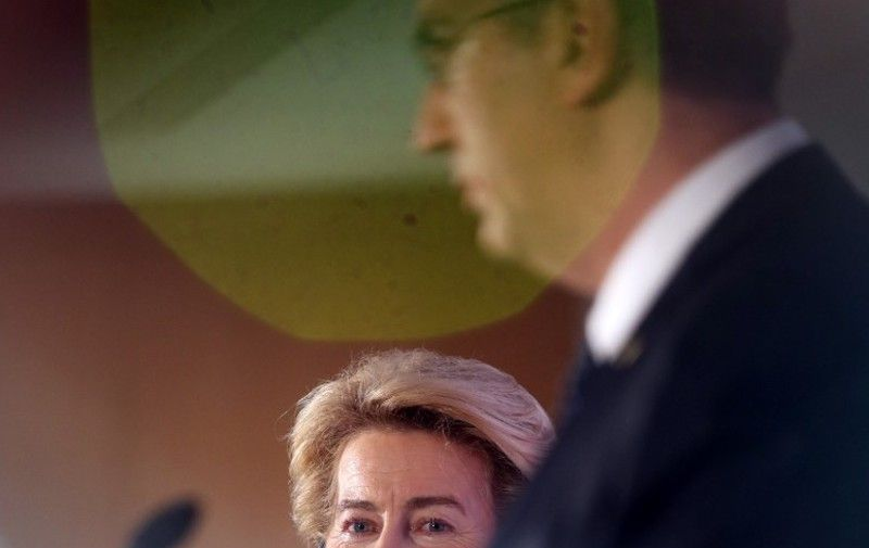 European Commission President Ursula von der Leyen attends a joint press conference with Croatian Prime Minister Andrej Plenkovic at the National and University Library in Zagreb, Croatia, on January 10, 2020. (Photo by Denis LOVROVIC / AFP)