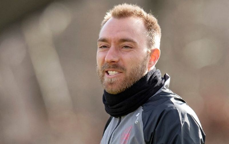 Denmark's midfielder Christian Eriksen attends a training session of Denmark's national football team in Herning, Denmark, on March 27, 2021, on the eve of the FIFA World Cup Qatar 2022 Group F qualification football match between Denmark and Moldova. - Denmark's national squad announced on March 27, 2021 they would stage a protest in support of the rights of migrant workers in Qatar at the World Cup qualifier against Moldova on March 28. The move comes as debate grows over alleged human rights abuses in Qatar, the controversial 2022 hosts of football's most prestigious tournament, and the conditions of the migrant workers building the World Cup venues. (Photo by Bo Amstrup / Ritzau Scanpix / AFP) / Denmark OUT