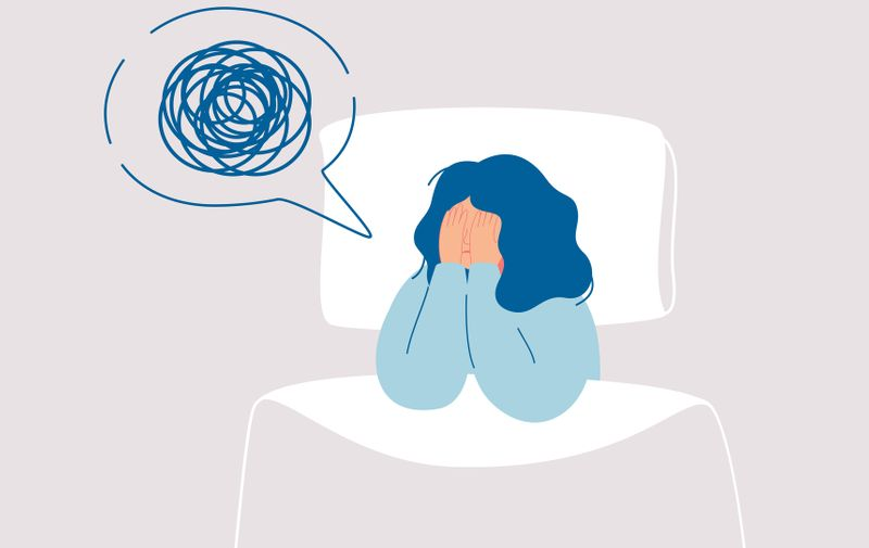 Girl in depression has confused thoughts in her mind at night, covering her face with her hands.Tired woman suffer from insomnia, sleeplessness, sleep disorder, nightmare.Vector illustration in flat (Girl in depression has confused thoughts in her min