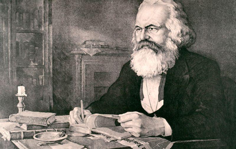 """Marx, Karl; Philosoph und Nationalökonom, Begründer des Marxismus; Trier 5.5.1818 – London 14.3.1883.  """"Karl Marx in seinem Arbeitszimmer in London"""".  Aquatintaradierung, undat., von Werner Ruhner (geb. 1922)., Image: 277272712, License: Rights-managed, Restrictions: Additional copyrights must be cleared., Model Release: no, Credit line: Profimedia, AKG"""