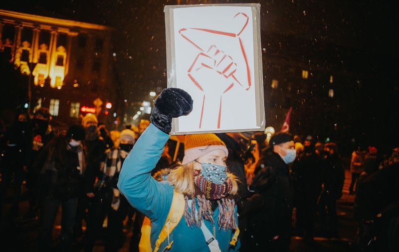 Women take part in a demonstration against the newly approved act on the prohibition of abortion in Wroclaw Protest against the abortion ban introduced in Poland - 05 Feb 2021,Image: 590115168, License: Rights-managed, Restrictions: , Model Release: no