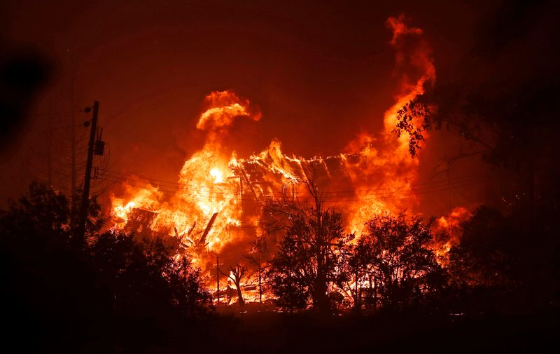 8/19/2020 - Vacaville, California, USA: A house is engulfed in flames along Pleasant Valley Road during LNU Lightning Complex Fire in Vacaville, Calif., on Wednesday, August 19, 2020.,Image: 553828165, License: Rights-managed, Restrictions: No publication in scandal publications, Model Release: no