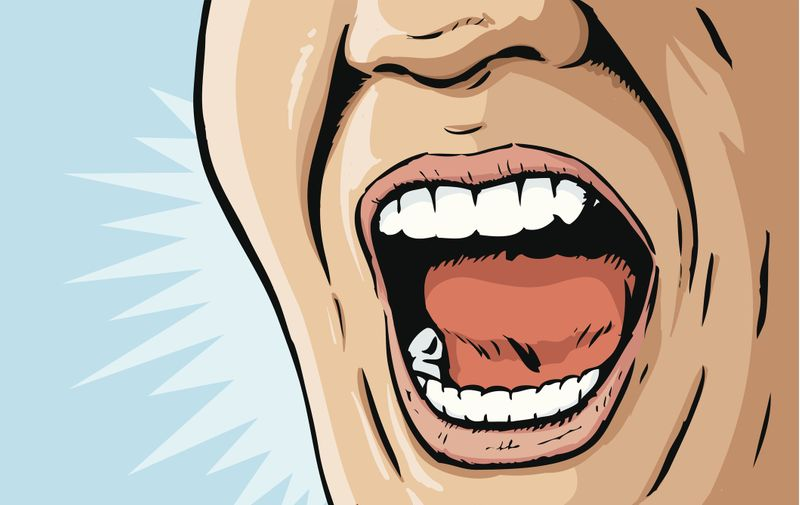Illustration of a mouth yelling