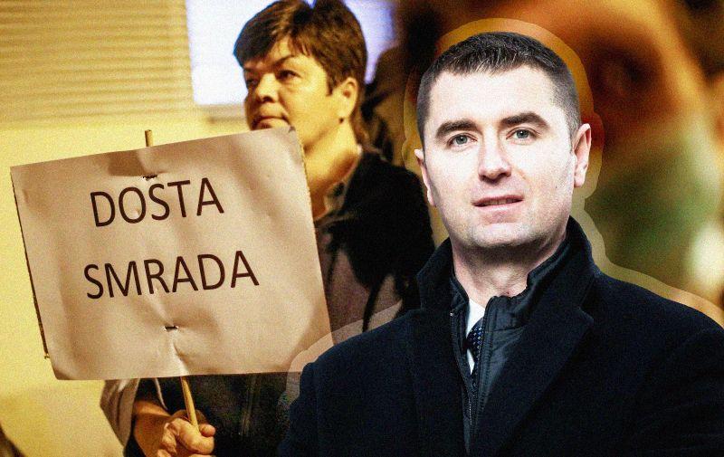 24.10.2019., Zagreb - Stanovnici Botinca organizirali su prosvjed zbog nesnosnog smrada iz kanalizacije. Tvrde da je neispravno napravljena, zbog cega stoji u cijevima i siri smrad i zarazu. Photo: Slavko Midzor/PIXSELL