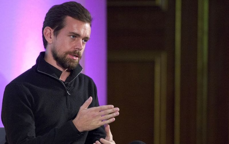 Jack Dorsey, CEO of Square, Chairman of Twitter and a founder of both ,holds an event in London on November 20, 2014, where he announced the launch of Square Register mobile application. The app, which is available on Apple and Android devises, will allow merchants to track sales, inventories and other data on smartphones and tablets. AFP PHOTO / JUSTIN TALLIS / AFP PHOTO / Justin TALLIS