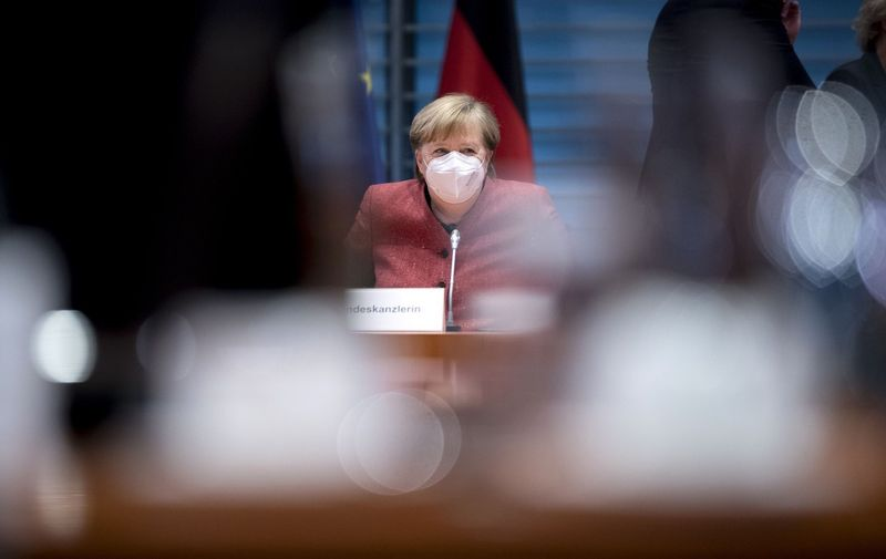 DEU, Deutschland, Germany, Berlin, 20.01.2021  Angela Merkel, Chancellor CDU, with protection mask during a cabinet meeting at the chancellor office in Berlin, Germany //IPON-BONESS_IPON011077/2101201552/Credit:Stefan Boness/Ipon/SIPA/2101201554,Image: 584874106, License: Rights-managed, Restrictions: , Model Release: no