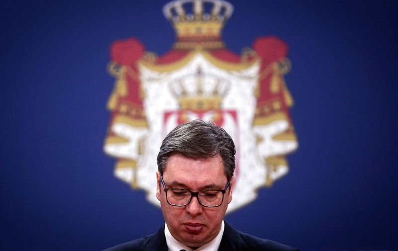 Serbian President Aleksandar Vucic addresses the public on March 15, 2020, in Belgrade. - Serbia's president declared a state of emergency on March 15n 2020 to halt the spread of the new coronavirus, shutting down many public spaces and deploying soldiers to guard hospitals. (Photo by Oliver BUNIC / AFP)