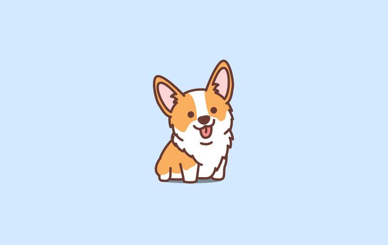 Cute corgi puppy cartoon icon, vector illustration
