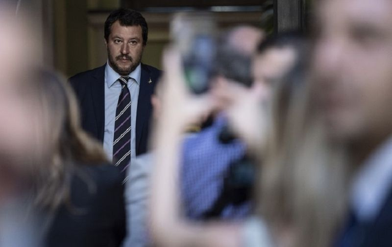 Italy's Interior Minister Matteo Salvini waits for the arrival of Hungary's Prime Minister Viktor Orban ahead of a meeting in Milan on August 28, 2018. / AFP PHOTO / MARCO BERTORELLO