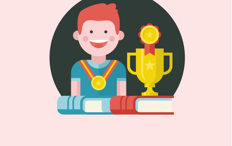 Vector emblem in flat style. Cheerful boy with a medal. Books and sports Cup.