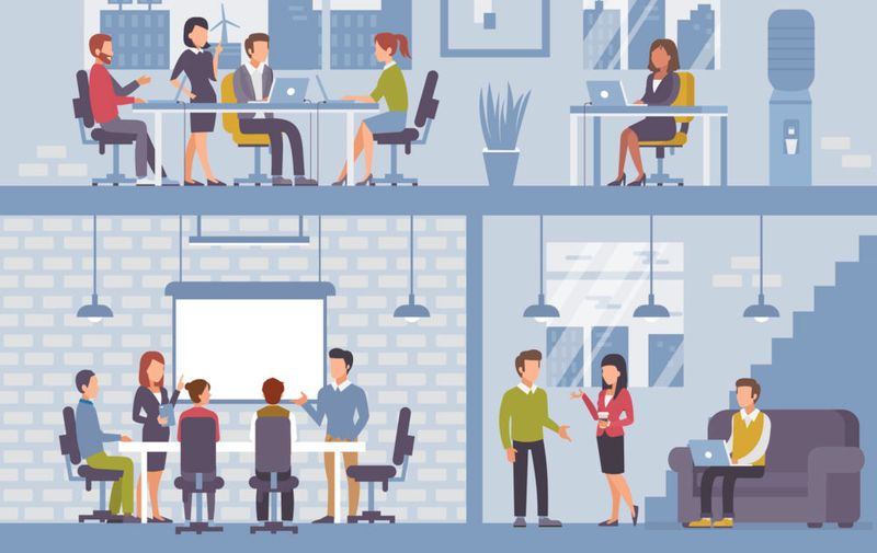 People in coworking office concept design for web banners, infographics. Co-workers at work. Flat style vector illustration.