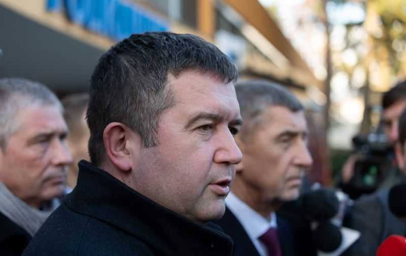 Czech interior minister Jan Hamacek (C) and Czech prime minister Andrej Babis (R)visit the the Faculty Hospital in Ostrava, eastern Czech Republic, after a gunman opened fire killing six people, on December 10, 2019. - The man suspected of killing six people and injuring two in a Czech hospital on December 10, 2019 morning is dead after shooting himself in the head, police said in a tweet. (Photo by Radek MICA / AFP)