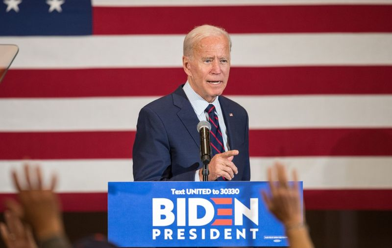 MANCHESTER, NH - OCTOBER 09: Democratic presidential candidate, former Vice President Joe Biden speaks during a campaign event on October 9, 2019 in Manchester, New Hampshire. For the first time, Biden has publicly called for President Trump to be impeached.   Scott Eisen/Getty Images/AFP