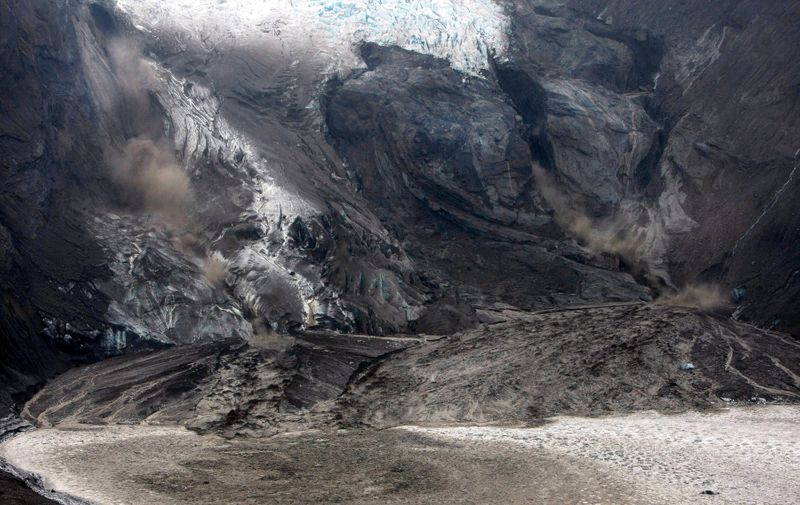 April 14, 2010, Reykjavík, Iceland: A volcanic eruption in Iceland, has thrown up a 6-km, 3.7 mile, high plume of ash and disrupted air traffic across northern Europe. The eruption under the Eyjafjallajokull glacier continues to spew large amounts of ash and smoke into the air and shows no signs of abating after 40 hours of activity.///Volcanic ash blankets acres of land near the Eyjafjallajokull glacier in southern Iceland.,Image: 56640822, License: Rights-managed, Restrictions: , Model Release: no