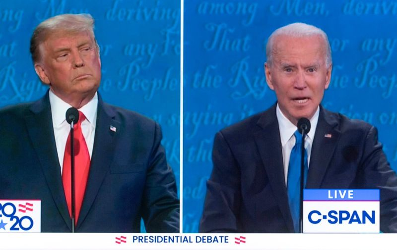 October 22, 2020 - Nasville, Tennessee, USA. -  Screen grab from the C-SPAN coverage of the second and final presidential debate, moderated by NBCs' Kristen Welker, between President DONALD TRUMP and former Vice President JOE BIDEN.,Image: 565118330, License: Rights-managed, Restrictions: , Model Release: no