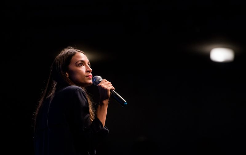 Alexandria Ocasio-Cortez holds a fundraiser and rally at the Los Angeles Theater Center in Los Angeles, California on Thursday, August 2, 2018., Image: 380927406, License: Rights-managed, Restrictions: , Model Release: no, Credit line: Profimedia, SIPA USA