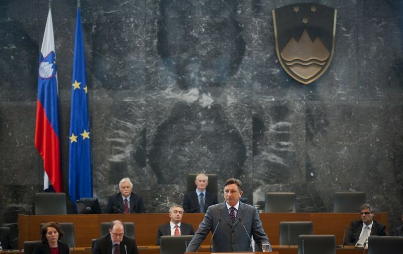 Borut Pahor, Slovenian Prime Minister, speaks to the Slovenian Parliament before a confidence vote for his centre-left minority government on September 20, 2011 in Ljubljana. Slovenia's centre-left minority government fell on Tuesday, after a no confidence vote in parliament paving the way for early elections most likely by the end of the year. A total of 51 lawmakers voted against the government, 36 backed Prime Minister Borut Pahor's minority government, and one abstained from the vote. A total of 88 lawmakers of the 90-seat parliament were present at the session. AFP PHOTO / AFP PHOTO / Jure Makovec