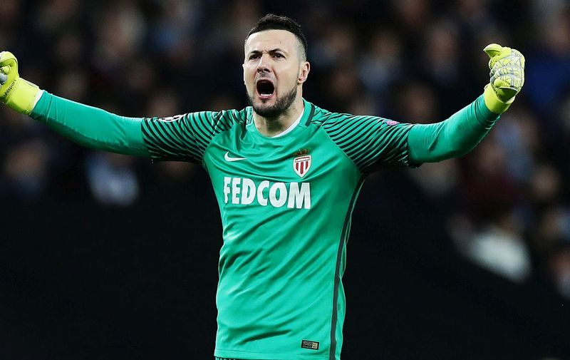 Danijel Subasic of Monaco celebrates during the Champions League Round of 16 match at Etihad Stadium, Manchester. Picture date: February 21st 2017., Image: 321866960, License: Rights-managed, Restrictions: RESTRICTIONS: Use subject to restrictions. Editorial use only. Book and magazine sales permitted providing not solely devoted to any one team / player / match. No commercial use. Call +44 (0)1158 447447 for further information., Model Release: no, Credit line: Profimedia, Press Association