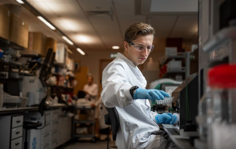 """An undated handout picture released by the University of Oxford on November 23, 2020 shows a technician working at the Jenner Institute on the University's COVID-19 candidate vaccine, known as AZD1222, co-invented by the University of Oxford and Vaccitech in partnership with pharmaceutical giant AstraZeneca. - Scientists behind a coronavirus jab being developed in Britain on Monday hailed it as a potential """"vaccine for the world"""", which could be cheaper to make and easier to store and distribute than its main rivals. The University of Oxford and its pharmaceutical partner AstraZeneca, said they were seeking regulatory approval for the vaccine after it showed an average 70-percent effectiveness. (Photo by John Cairns / University of Oxford / AFP) / RESTRICTED TO EDITORIAL USE - MANDATORY CREDIT """"AFP PHOTO / UNIVERSITY OF OXFORD / John Cairns """" - NO MARKETING - NO ADVERTISING CAMPAIGNS - RESTRICTED TO ILLUSTRATING STORIES RELATED TO THE PARTICULAR VACCINE, EVENTS AND FACTS MENTIONED IN THE CAPTION - DISTRIBUTED AS A SERVICE TO CLIENTS /"""