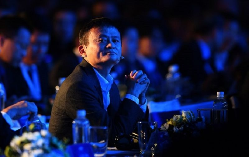 Jack Ma, Chinese billionaire and Chairman of Alibaba, attends a forum on E-payment, the Vietnam E-Payment Forum, in Hanoi on November 6, 2017. / AFP PHOTO / HOANG DINH NAM