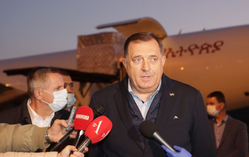 15, April, 2020, Banja Luka - A plane with medical equipment from China landed at Mahovljani Airport (Banja Luka). Milorad Dodik. Photo: Borislav Zdrinja/ZIPA PHOTO/ATAImages  15, april, 2020, Banja Luka - Na aerodrom Mahovljani (Banja Luka) sleteo avion sa medicinskom opremom iz Kine. . Photo: Borislav Zdrinja/ZIPA PHOTO/ATAImages,Image: 513981957, License: Rights-managed, Restrictions: , Model Release: no