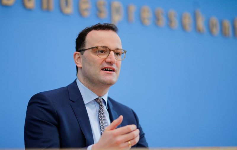 German Health Minister Jens Spahn speaks during a press conference on the situation of the coronavirus (Covid-19) pandemic in Germany, in Berlin on March 26, 2021. (Photo by HANNIBAL HANSCHKE / POOL / AFP)