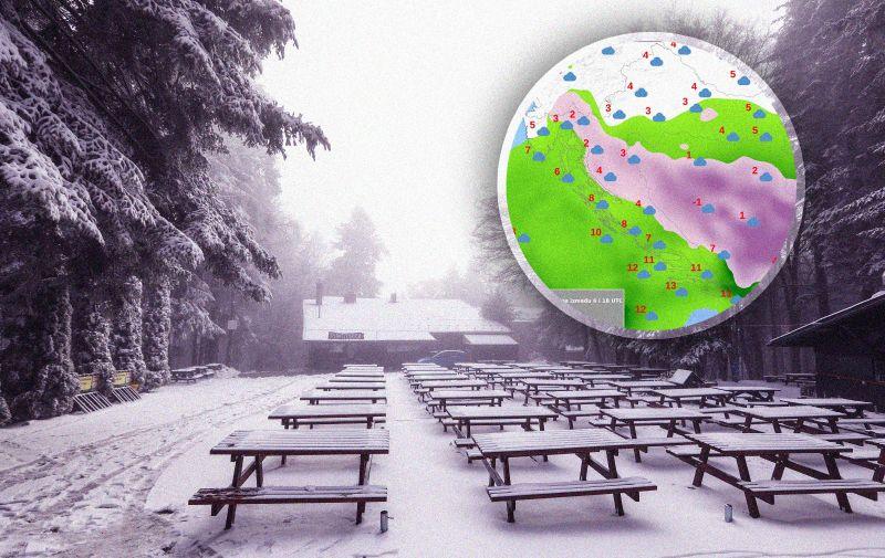 10.12.2020., Zagreb - Nocasnji snijeg zabijelio zagrebacku goru, malobrojni posjetitelji prosetali vrhom Sljemena koje je ogrnuto snjeznim pokrivacem i ledom.  Photo: Robert Anic/PIXSELL