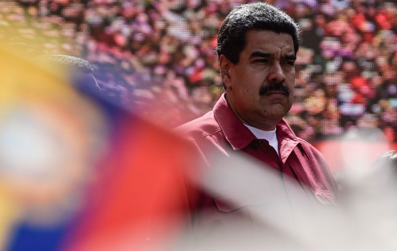 CARACAS, VENEZUELA - AUGUST 14: Venezuela's President Nicolas Maduro attends a rally supporting him and opposing U.S. President Donald Trump, in Caracas, on August 14, 2017. Carlos Becerra / Anadolu Agency, Image: 345096250, License: Rights-managed, Restrictions: , Model Release: no, Credit line: Profimedia, Abaca