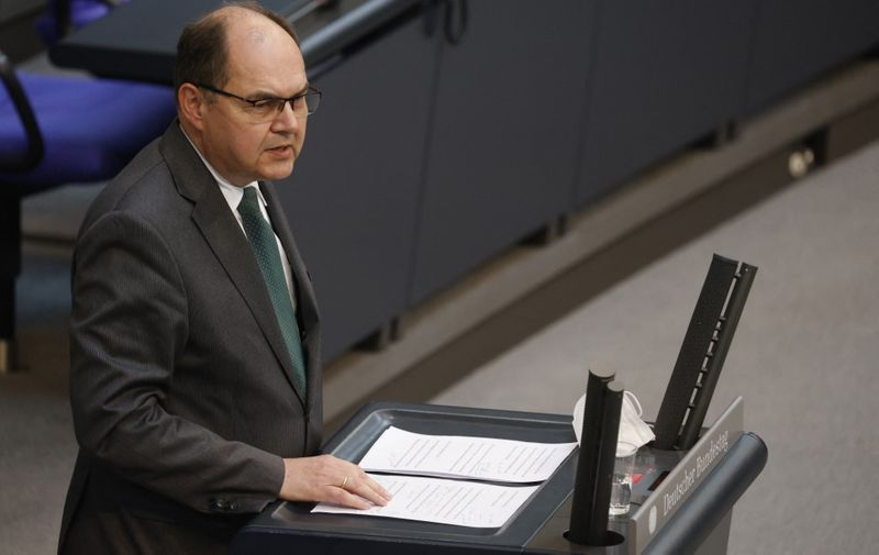 Christian Schmidt of the Christian Social Union (CSU) party and future High Representative for Bosnia and Herzegovina, addresses a session at the Bundestag (lower house of parliament) on May 19, 2021 in Berlin. (Photo by Odd ANDERSEN / AFP)