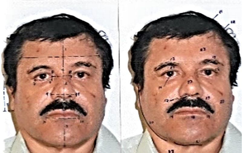 """This handout photo released on February 25, 2014 by Mexican Attorney General office (PGR) shows facial measurements on a portrait of the Mexican drug trafficker Joaquin Guzman Loera, aka """"el Chapo Guzman"""" in Mexico City. The Sinaloa cartel leader - the most wanted by US and Mexican anti-drug agencies - was arrested by Mexican marines at a resort in Mazatlan, northern Mexico, last February 21. AFP PHOTO/PGR (Photo by HO / PGR / AFP)"""