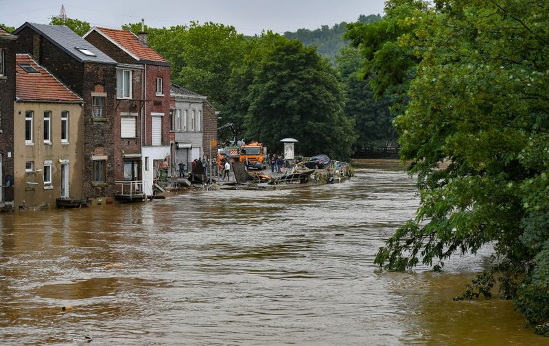 This picture shows the damage caused by the flood in the Chenee district in Liege, on July 16, 2021, after heavy rains and floods lashed western Europe. - The death toll in Belgium jumped to 15 with more than 21,000 people left without electricity in one region. (Photo by BERNARD GILLET / BELGA / AFP) / Belgium OUT