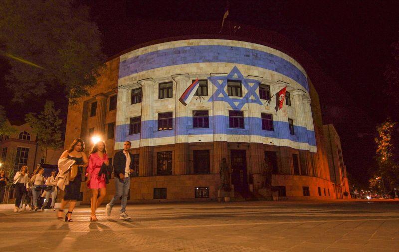 13.05.2021., Banja Luka, Bosna i Hercegovina - Palata Republike - Dom Predsjednika Republike osvjetljena u bojama zastave Izraela kao znak solidarnosti zbog novih ratnih sukoba. Photo: Dejan Rakita/PIXSELL